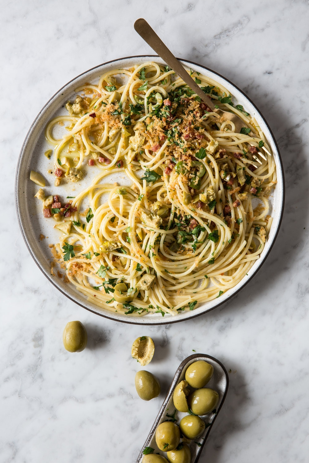 Spaghetti with Green Olives, Pancetta and Crispy Lemon Breadcrumbs by Judy Kim