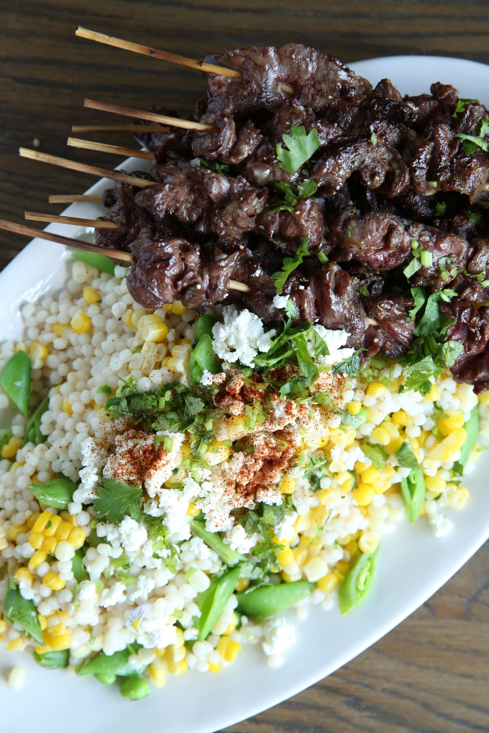 Grilled Steak Skewers with Corn and Couscous Salad by Judy Kim