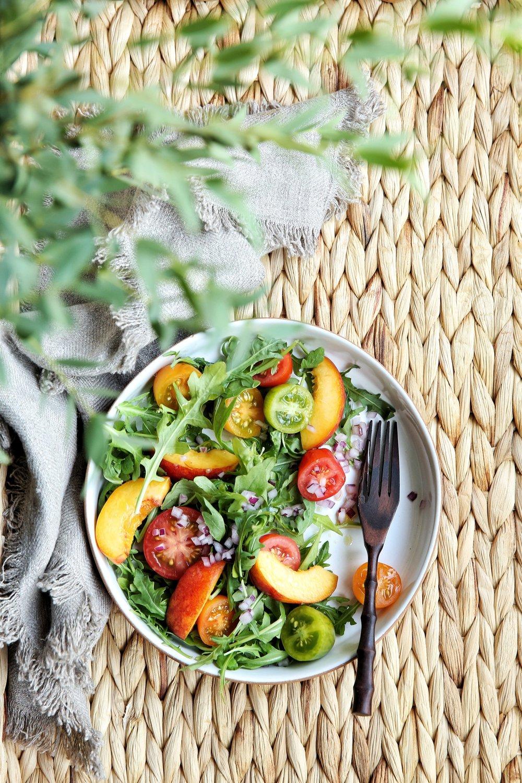 Heirloom Tomato, Nectarine And Arugula Salad With Grapefruit Vinaigrette by Judy Kim