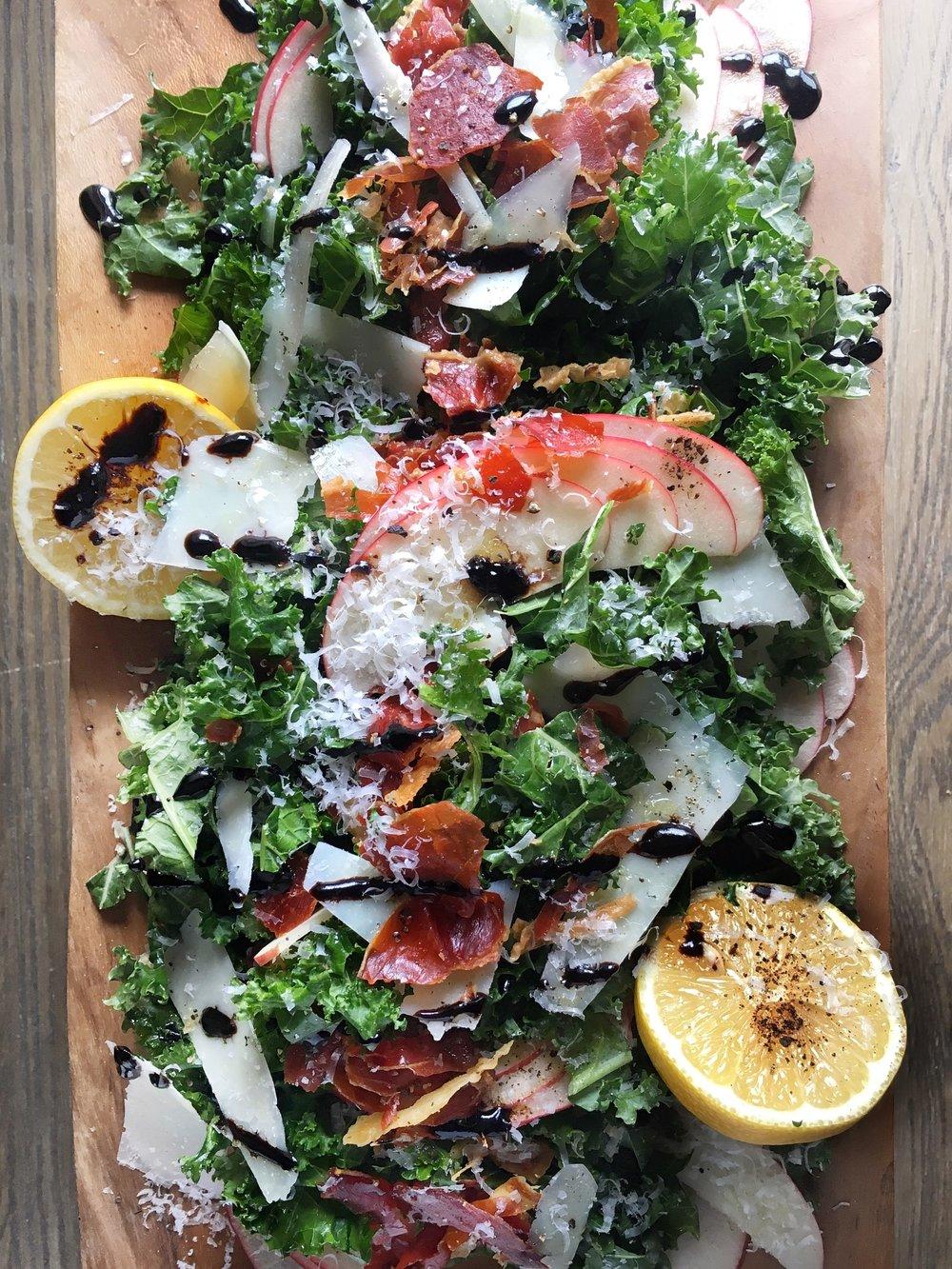Kale, Apple, and Pecorino Salad with Crispy Prosciutto and Balsamic Crema by Judy Kim
