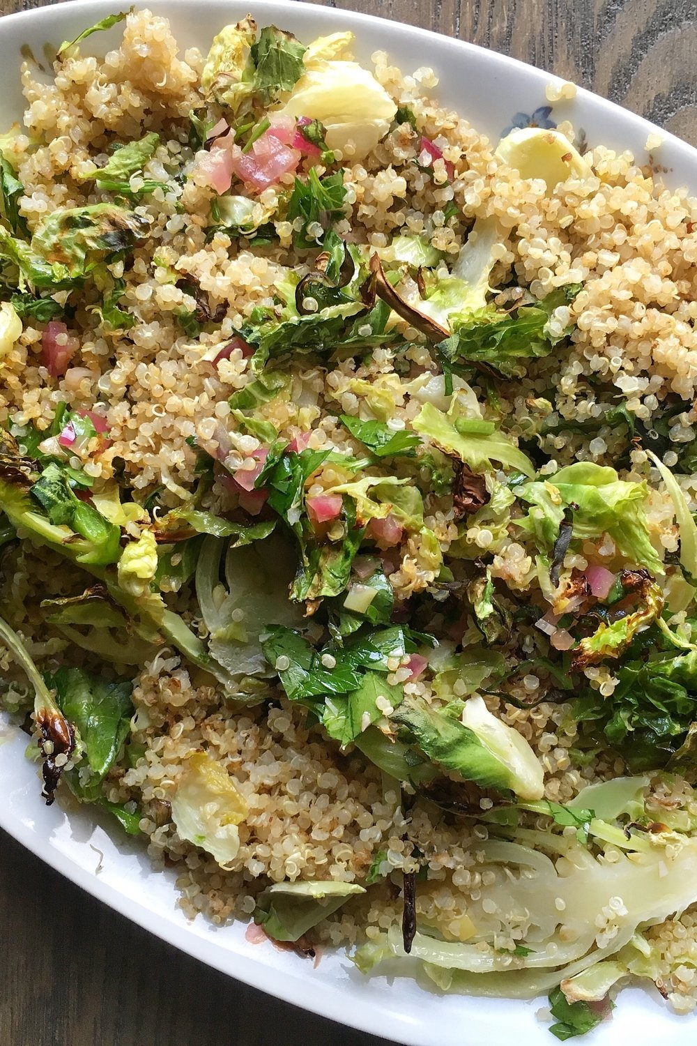Roasted Brussel Sprouts And Quinoa With Red Onion Vinaigrette by Judy Kim