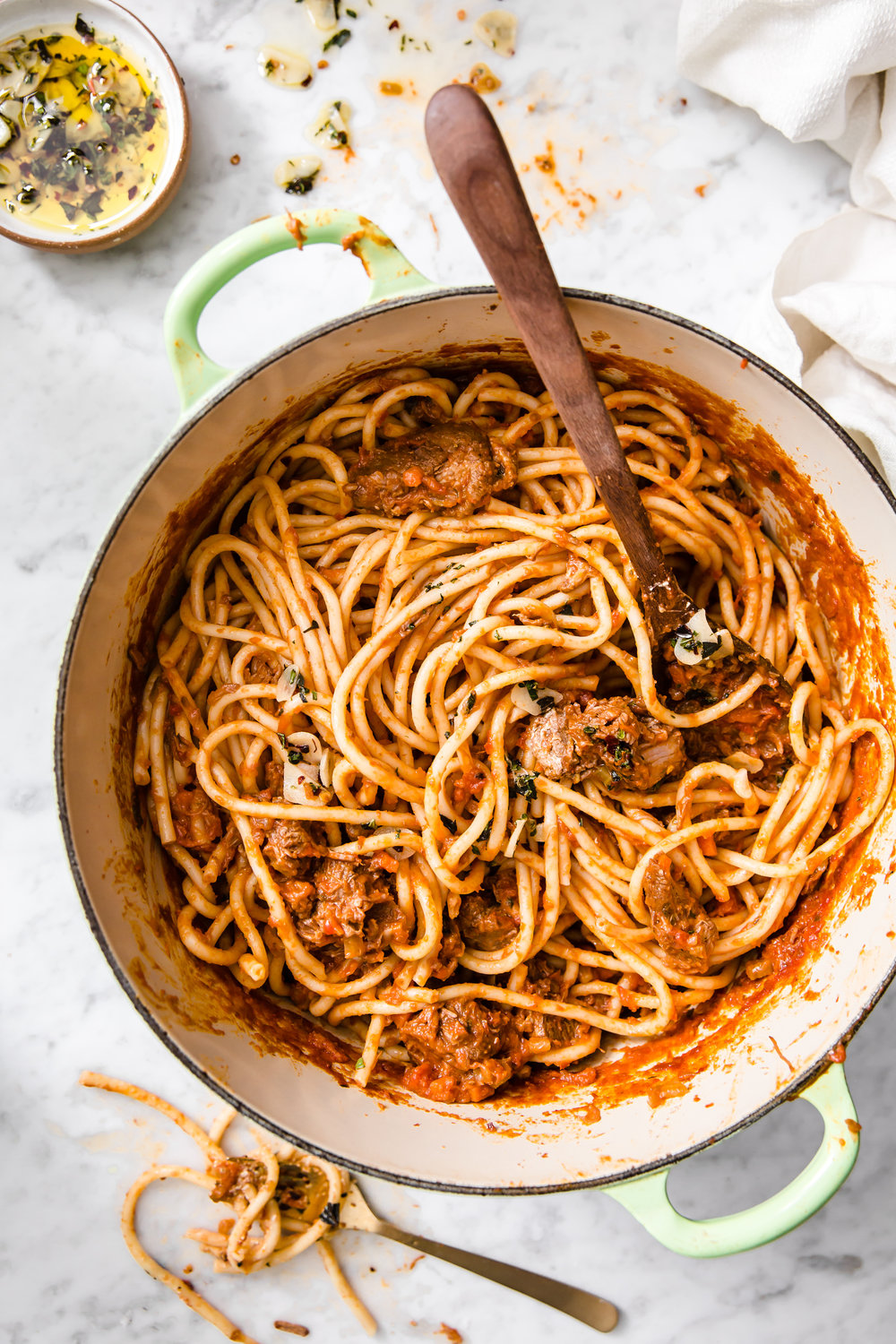 Bucatini with Lamb Ragu by Judy Kim