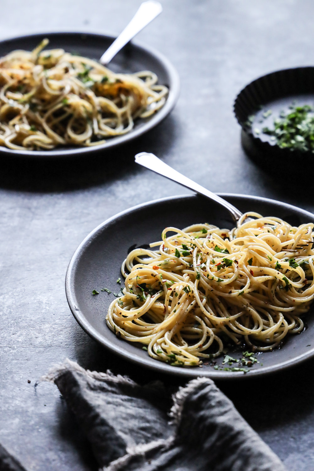Spaghetti Aglio e Oglio, James Beard, Food Styling Judy Kim