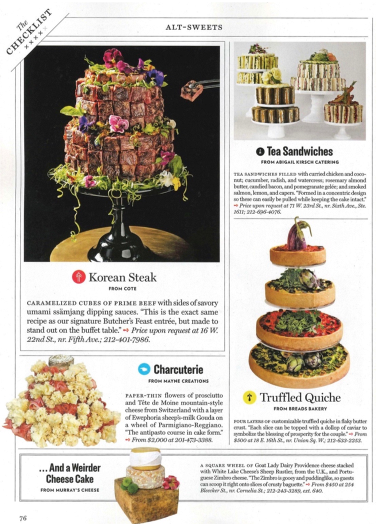 NY Magazine Weddings 2018, Food Stylist Judy Kim, Steak Cake, Cote NYC, Photo Gary He