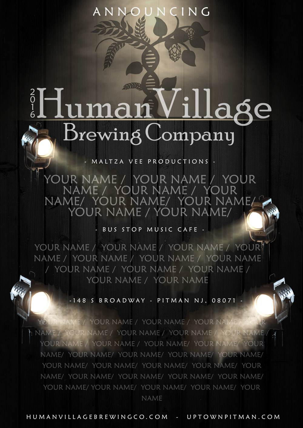Become a headline on our custom made tribute poster! This will hang in the brewery for all to see who are our biggest supporters!