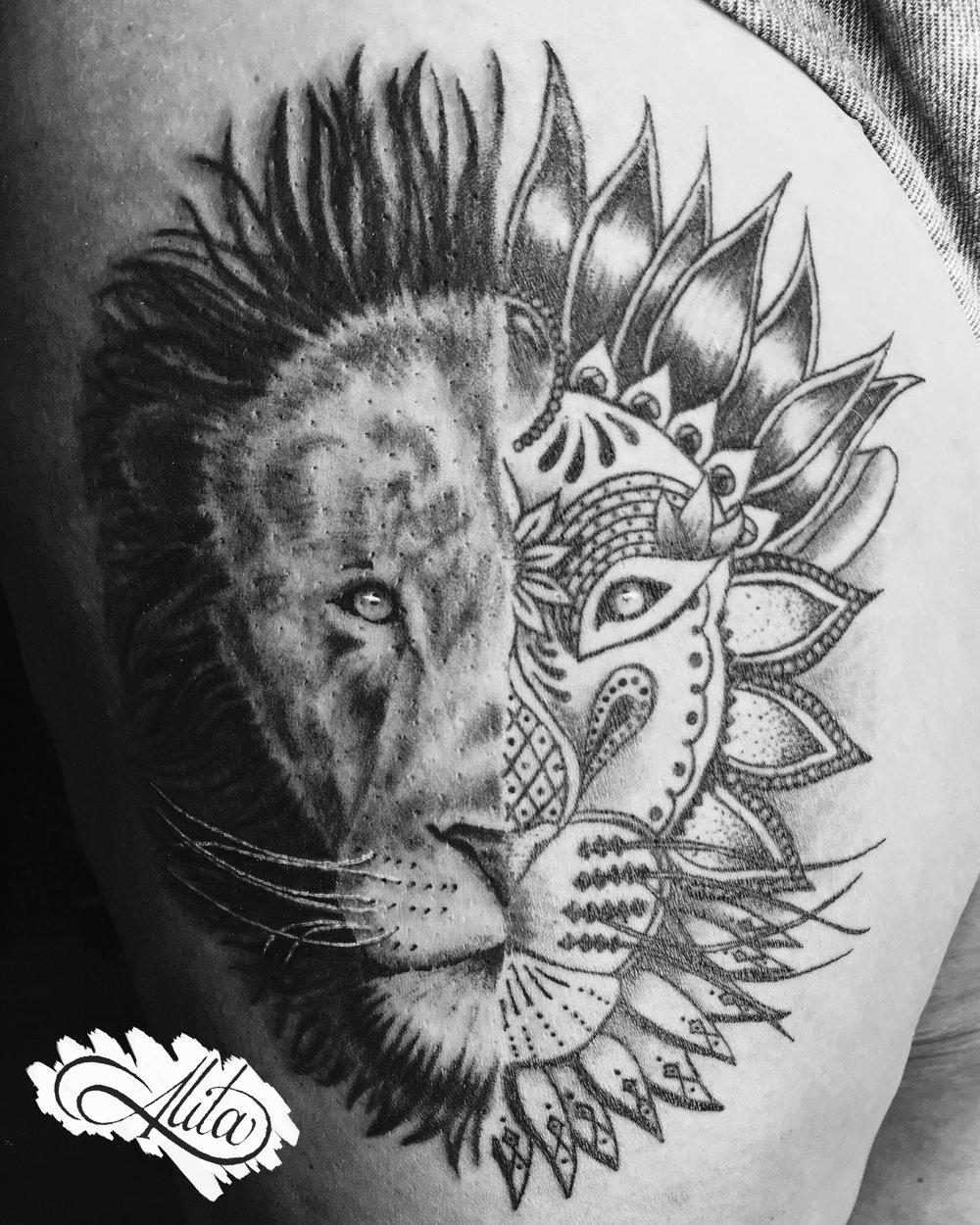Lion Half Realistic Half Mandala