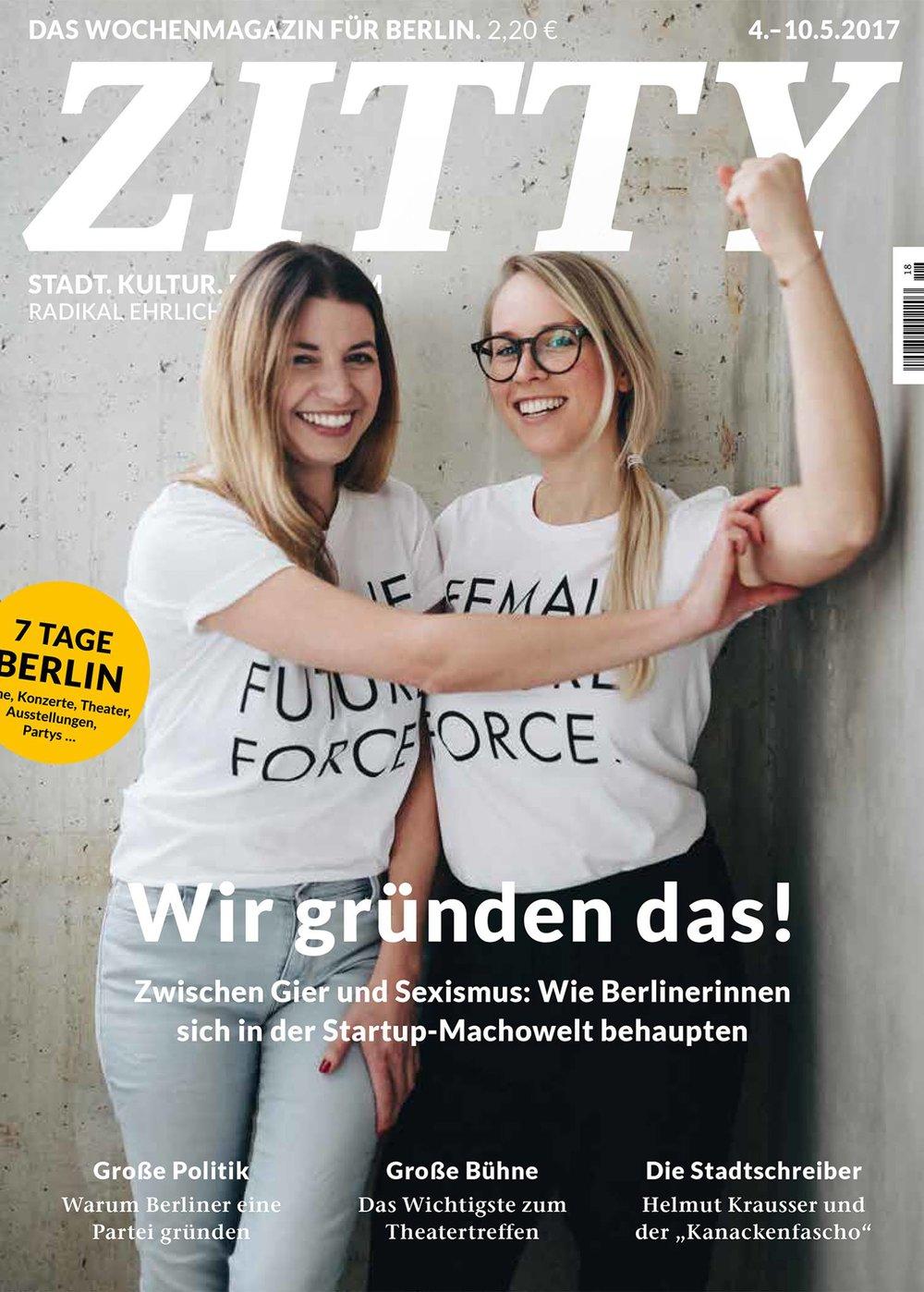 Cover Bild für die Zitty - Ich freu mich über den Erfolg der Female Future Force!
