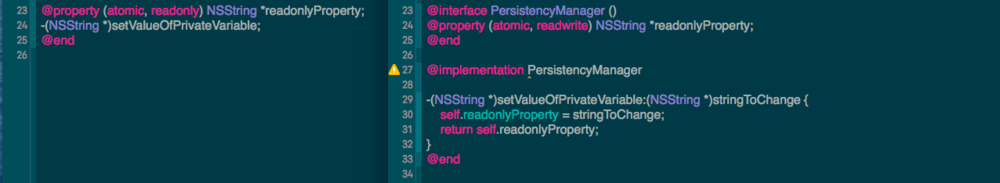 On the left, we have the interface (.h) class file, and in it, we have a public readonly property and a public method. On the right, we have the implementation (.m) file with an extension declared. In the extension, we have redeclared our readonly property to be readwrite - other classes can now READ the variable value directly (it is publicly declared on the left) but cannot directly alter the value of it (since it's publicly readonly). In order to change the value, other classes must go through our publicly declared method, the implementation of which changes the property value.