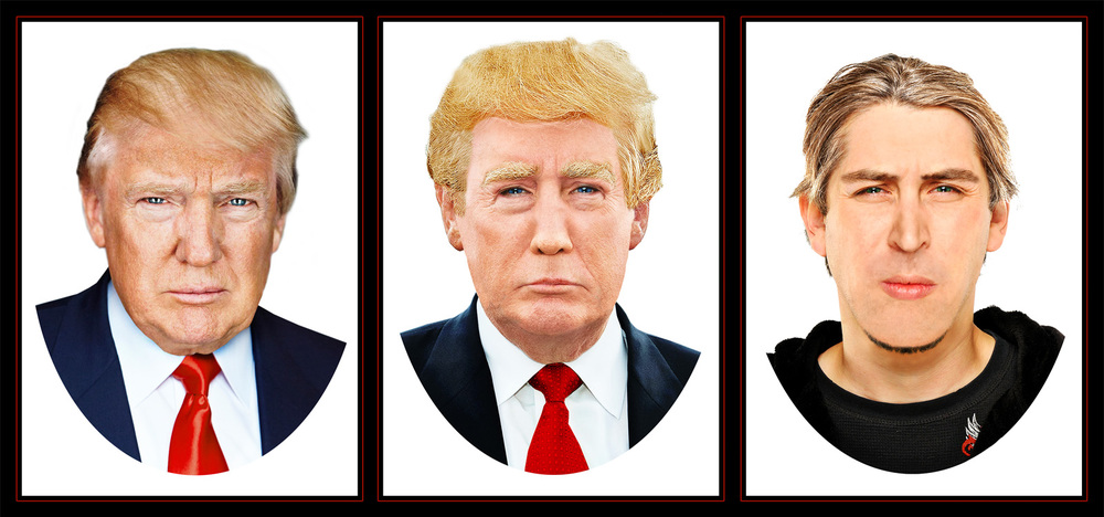 Digital rendering of Donald Trump prosthetic makeup for actor (Left to right: Donald Trump, makeup rendering, actor)