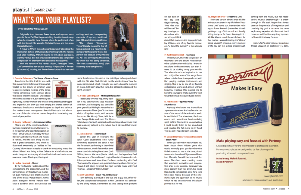 "FKAjazz featured in the ""What's On Your Playlist"" section of Jazz Ed Magazine, October 2017 issue."