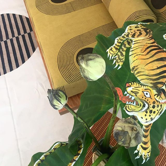 #introla throwback (on a Monday, we know, a little unconventional...) -- loving this hand painted detail at the @blockshoptextiles install! 🐯🐯🐯
