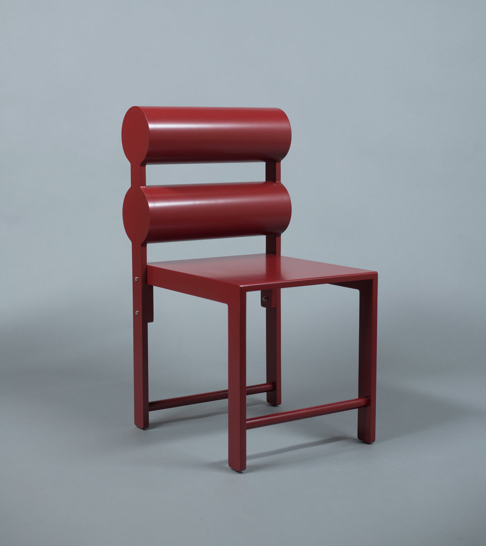 Double Cylinder Dining Chair / WAKA WAKA Pompeii Red Lacquered SPEC SHEET - Inquire within - info@smalloffice.info