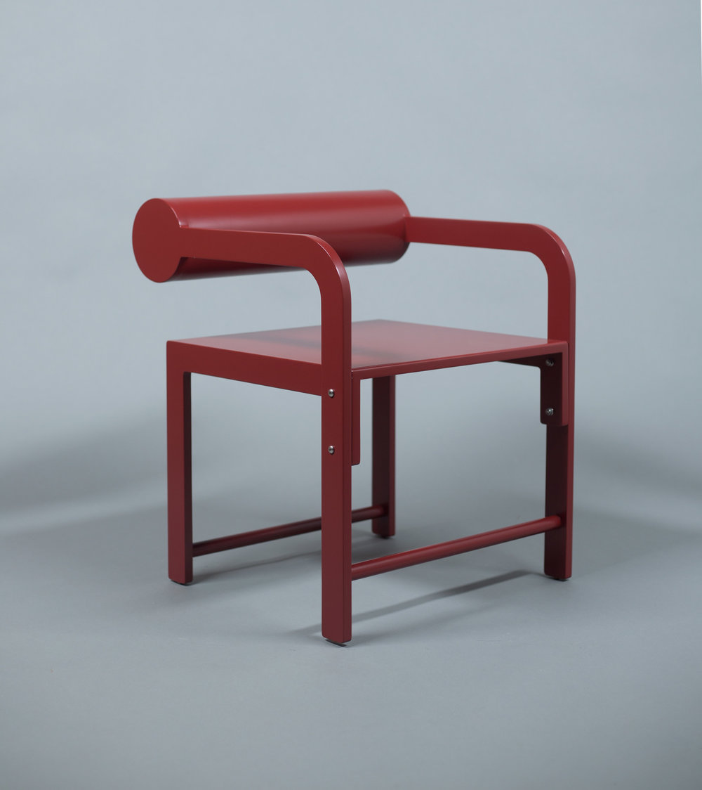 Cylinder Back Accent Armchair / WAKA WAKA Pompeii Red Lacquered SPEC SHEET - Inquire within - info@smalloffice.info