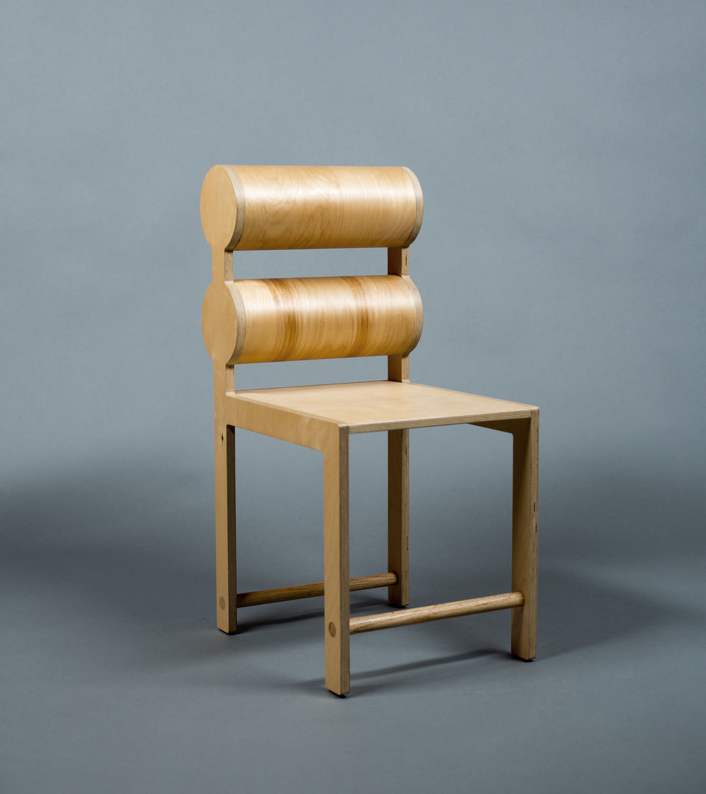 Double Cylinder Back Dining Chair / WAKA WAKA Wood SPEC SHEET - Inquire within - info@smalloffice.info