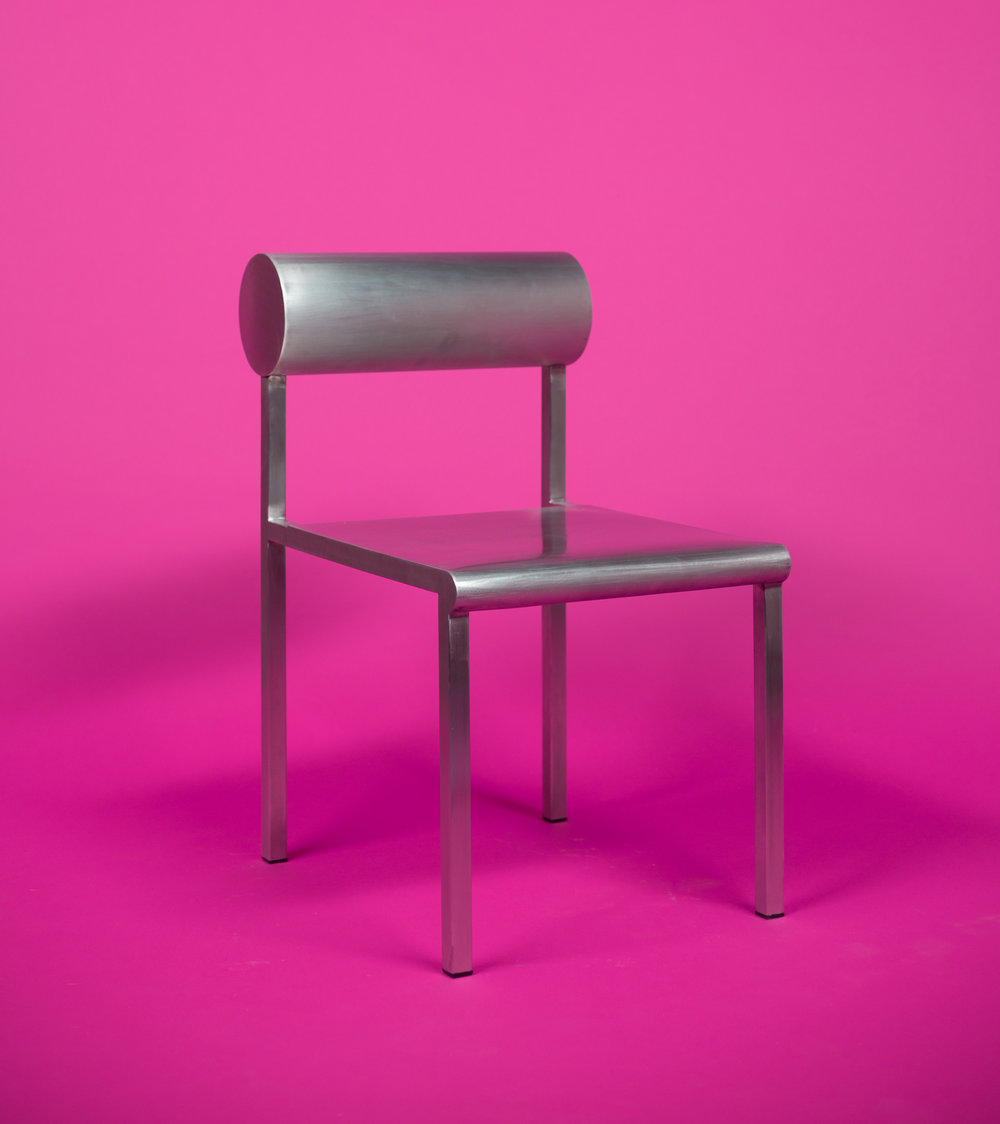 Cylinder Back Accent Chair / WAKA WAKA Stainless Steel SPEC SHEET - Inquire within - info@smalloffice.info