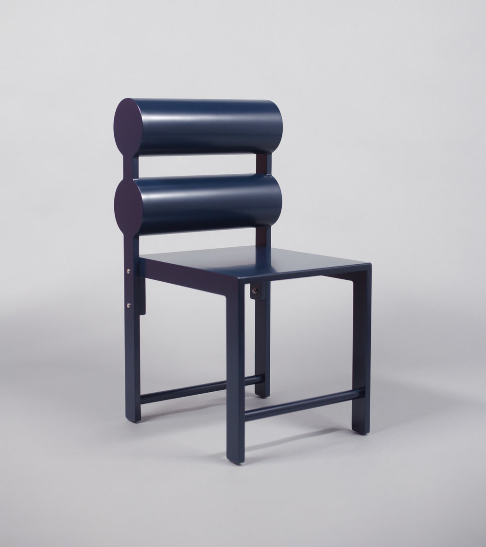 Double Cylinder Dining Chair / WAKA WAKA Indigo Blue Lacquered SPEC SHEET - Inquire within - info@smalloffice.info