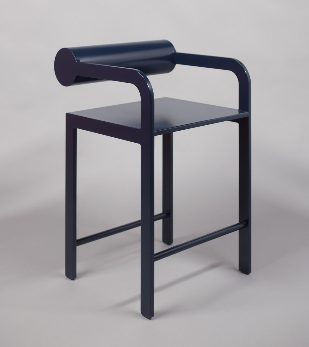 Cylinder Back Accent High Armchair / WAKA WAKA Indigo Blue Lacquered SPEC SHEET - Inquire within - info@smalloffice.info