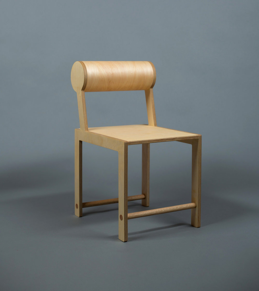 Leaning Back Cylinder Dining Chair / WAKA WAKA Wood SPEC SHEET - Inquire within - info@smalloffice.info