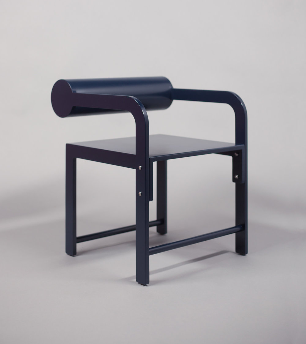 Cylinder Back Accent Armchair / WAKA WAKA Indigo Blue Lacquered SPEC SHEET - Inquire within - info@smalloffice.info