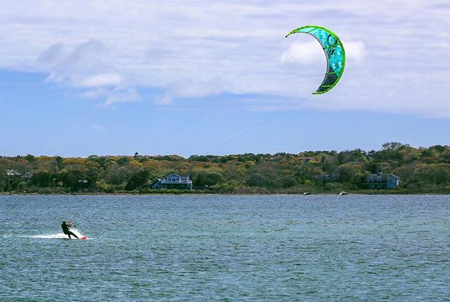 In the pond on MV #marthasvineyard #kiteboarding