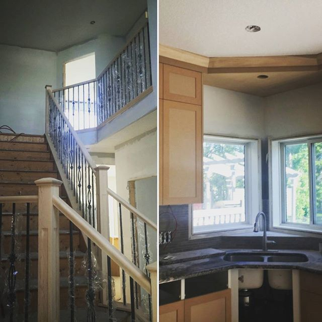 It was nice to check in on our Mount Douglas renovation today.. Things are coming together nicely! Cabinets and railing are installed, finishing starts next week! 🔨🛠️ #yyc #calgary #interiordesign #yycdesigns #designlife #design #construction #renovations #morriscooperdesign #customhome #change #houzz #corefrontrenovations #corefrontmorriscooper #beautiful #kitchen #bathroom #railing