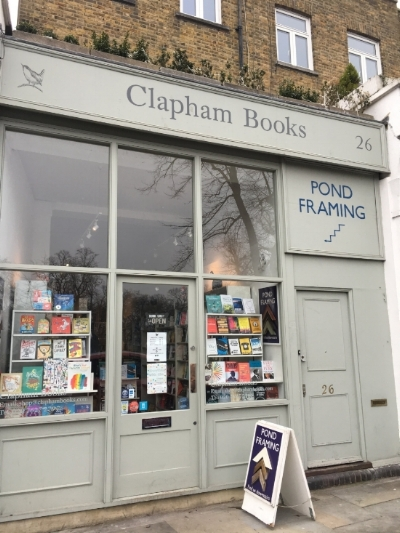 Clapham Books - it's in the front window!