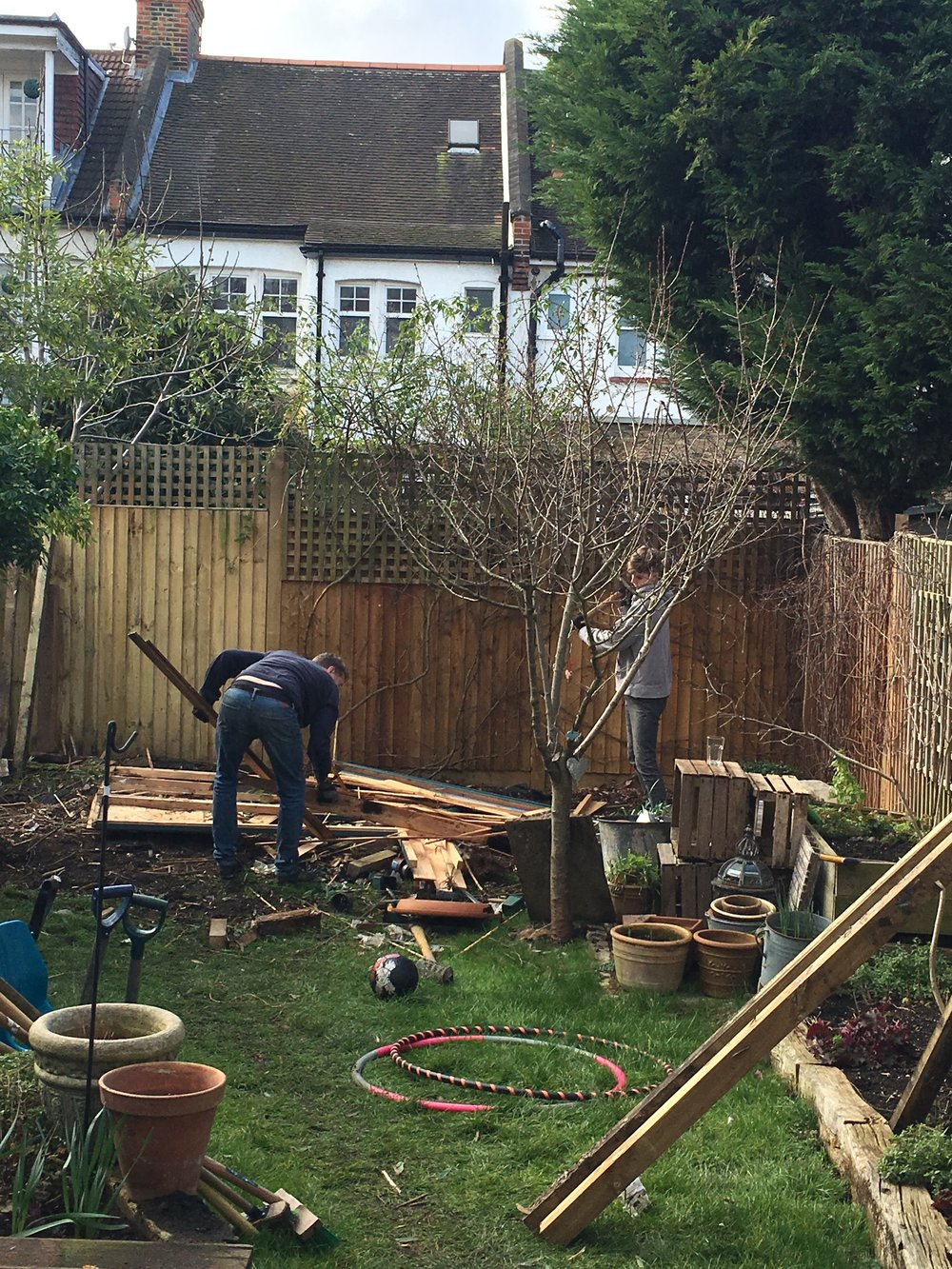 Father & son making space for my very own She Shed!