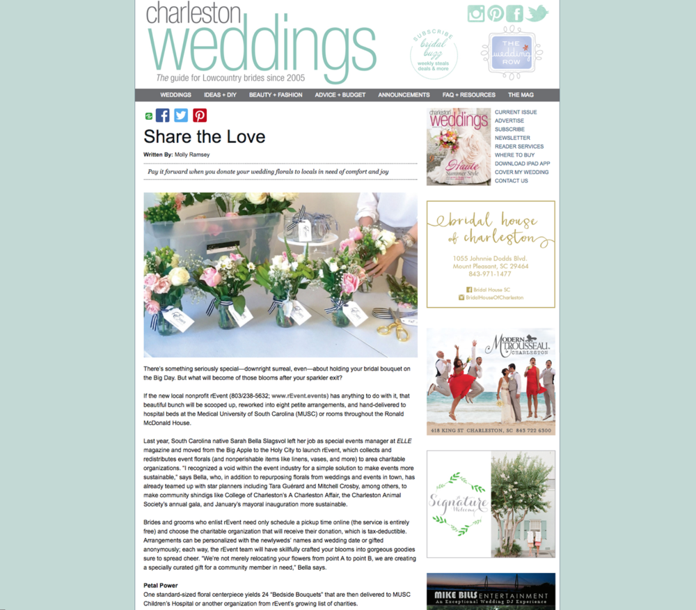 Online Feature:  Charleston Weddings Magazine,  Summer 2016, Bridal Buzz.    Online Article  Link .