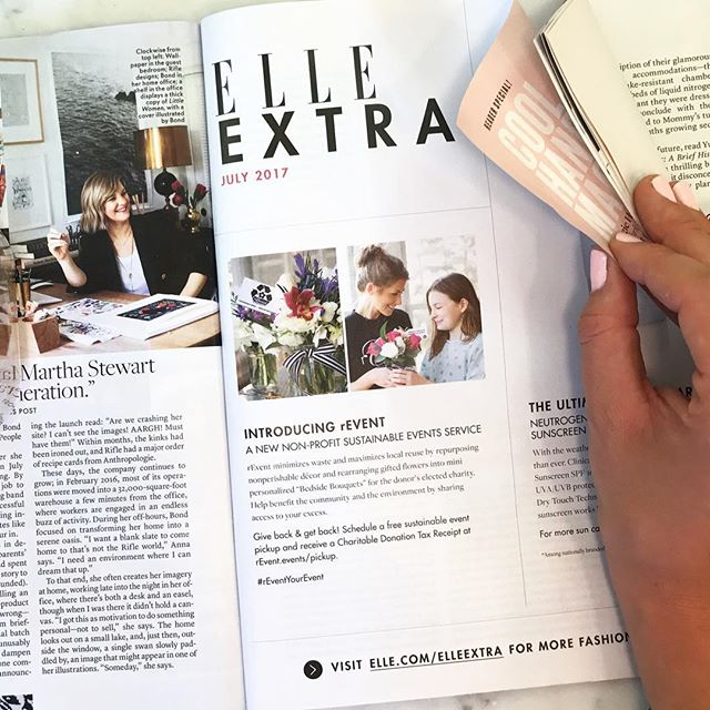 Thank you @ELLEusa for including us in your July issue!  #rEventYourEvent 💐♻️💚 To learn more about our FREE #SustainableEventService please check out our website:  www.rEvent.events    Also many thanks to @hodgesliz @katiehcrown and our wonderful donors for your continued support. Special thanks to our lovely #rEventBees who make our work possible 🐝