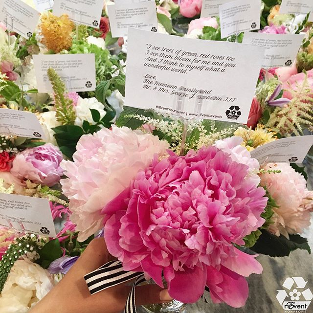 This beautiful wedding flower donation reached 103 children at #MUSC Children's Hospital, thanks to newlyweds Carolyn & George, and the Niemann family. #rEventYourEvent ♻️🌷 . . .  Many thanks to our #rEventbees 🐝 for rearranging the gifted blooms into 103 #BedsideBouquets! @eluxxx @kinseycat . . .  Wedding by @theburlapelephant at #LowndesGrove Plantation. #SustainableEventService #repurposeflowers #weddingflowers #flowers #BedsideBouquet #volunteer #giveback #getback #gogreen #sustainability @carolyn_hartford @georgeb332 @annehkn