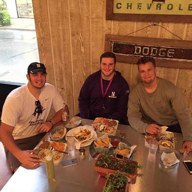3 of the northwestern offensive linemen stop by Taco Lago tonight!  Go wildcats! They loved the queso fundio!