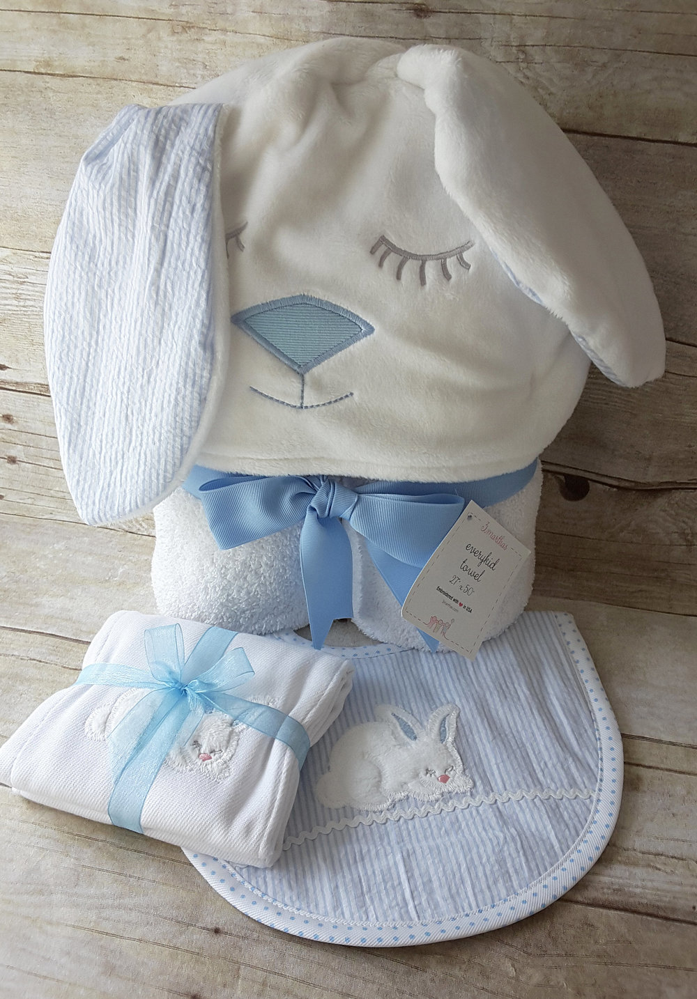 Blue Bunny Character Towel, Blue Bunny Burp Cloth, and Blue Bunny Medium Bib