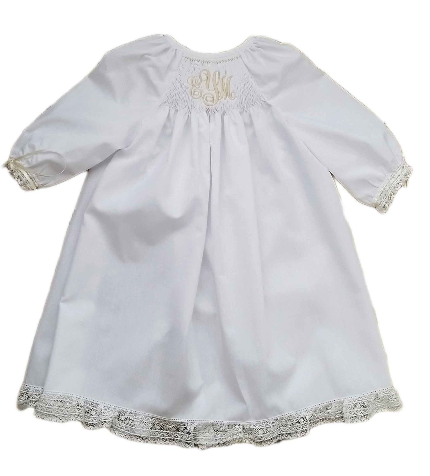 White & Ecru Smocked Monogrammed Baby Gown — White & Ecru Smocked ...
