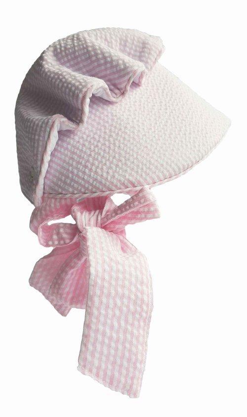 ba9246c4fc6 Pink Seersucker Baby Infant Sun Bonnet by Mud Pie — Pink Seersucker ...