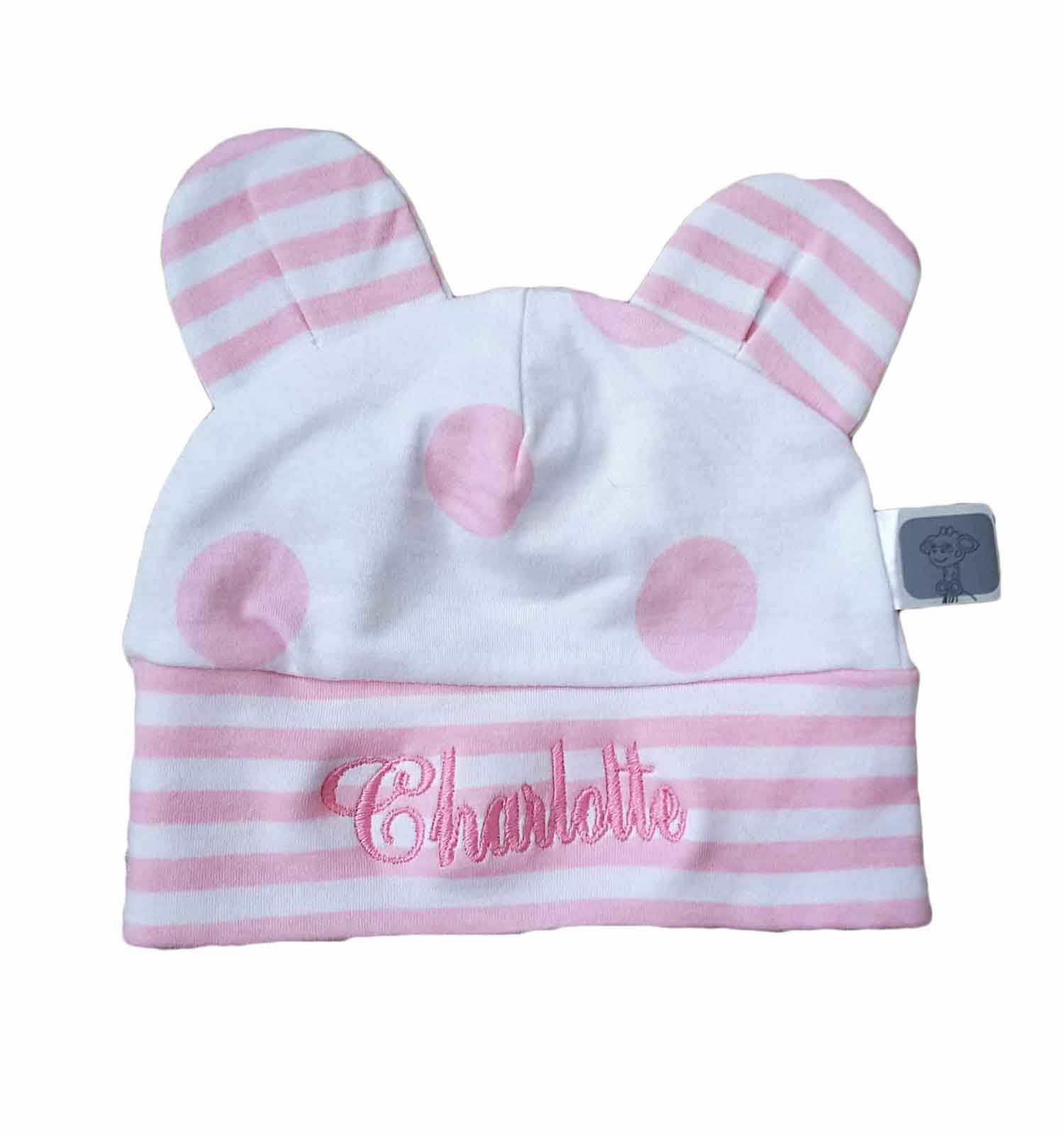 956ce3e25eb1d Pink Lollipop Stripe+Dots Infant Cap by Little Giraffe — Pink Lollipop  Stripe+Dots Infant Cap by Little Giraffe