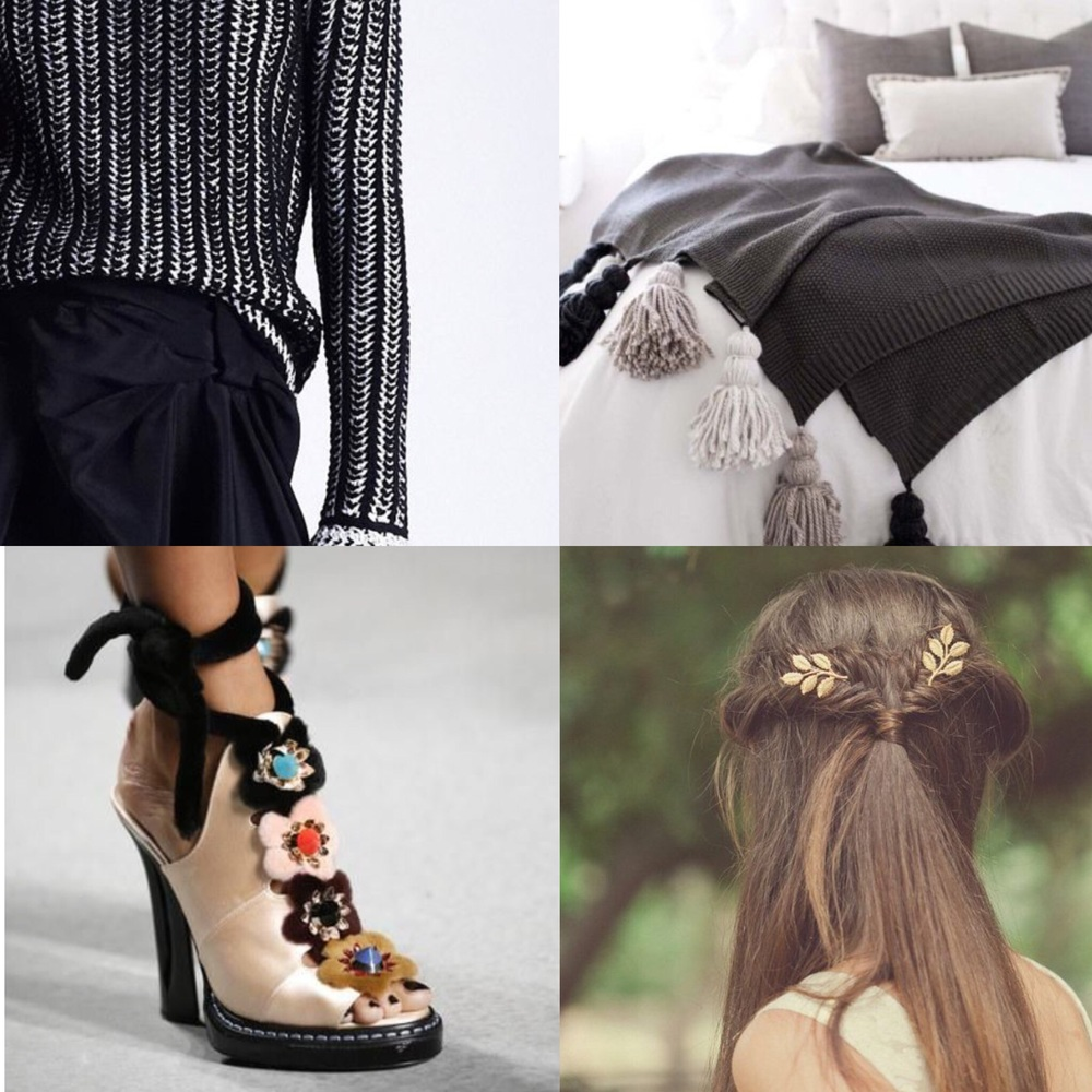 TOP (RIGHT TO LEFT) VIKTOR & ROLF PRE-FALL 2013- DIY TASSEL BLANKET FROM TELL LOVE AND CHOCOLATE  BOTTOM (RIGHT TO LEFT) FENDI SPRING 16 - GRECIAN HAIR PIN FROM ECHOANDLAUREL