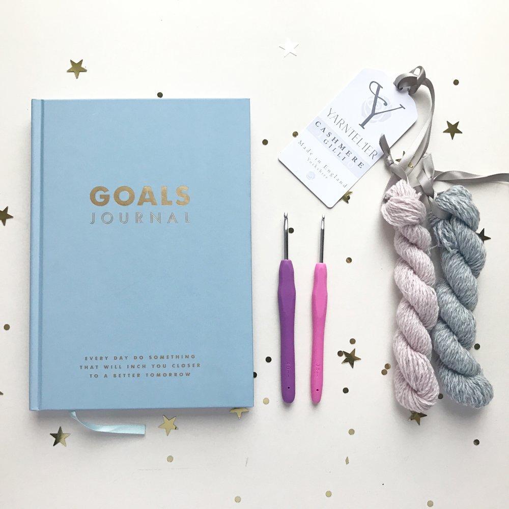 Goal Journal  Kikki-K |  Crochet Hooks   Clover Amour  |  Cashmere Lace  Y  arntelier