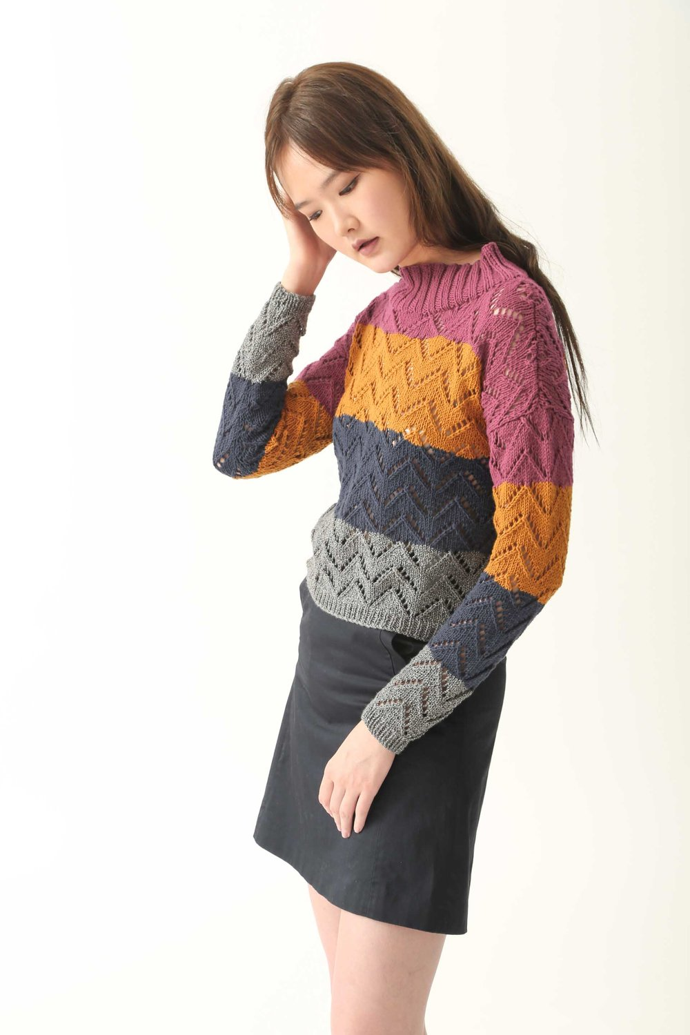 Striped Eyelet Chevron Jumper
