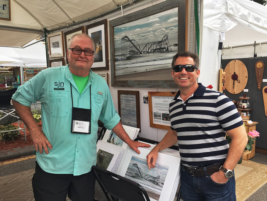 Meeting Frank Storino, right, whose family owns the Jet Star roller coaster and Casino Pier, was a special treat on Sunday at the Cape Coral Festival of the Arts.