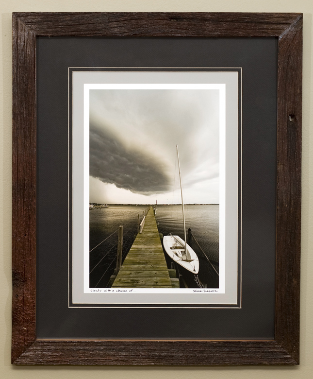 Double matted luster print framed with reclaimed cedar from the Indian Creek Barn in Reily, OH, circa 1880s.