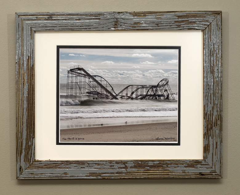 Double matted luster print framed with reclaimed deck boards from Terra Ceia, FL