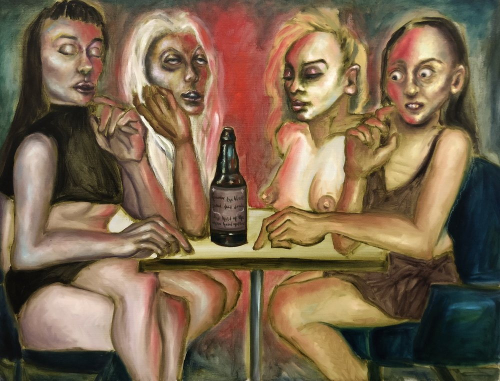"Four Women Sharing a Beer  30"" x 40""  Oil paint on canvas  2018"