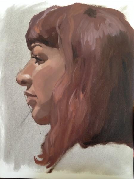 Portrait in oil paint