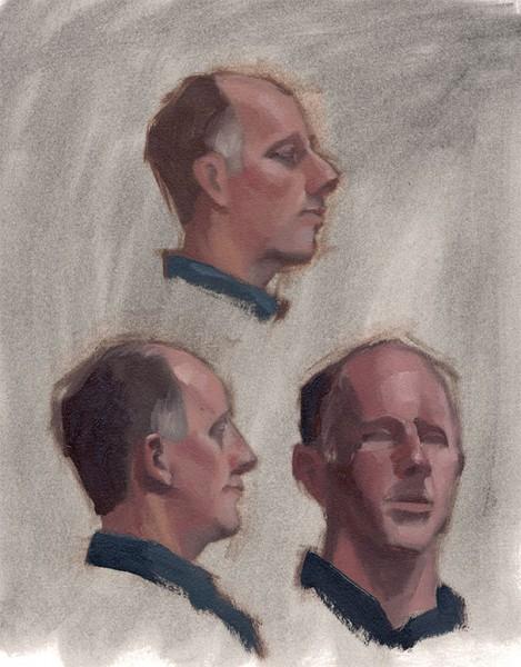 Three head study portraits