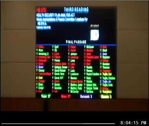 Passage of HB 575 shows on the board in the house of representatives.