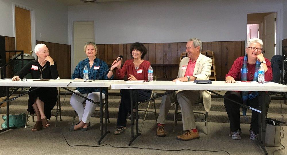 Rep. Gail Chasey, Rep. Debbie Armstrong, moderator Mary Feldblum, Sen. Bill Soules, and Sen. Liz Stefanics