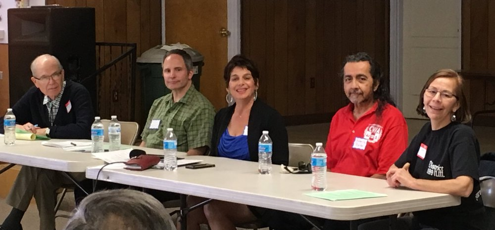 John Mezoff, MD; Mitch Rekow, Albuquerque Teachers Federation; moderator Dana Millen; Roberto Roibal, CWA and SouthWest Organizing Project; and Lorie MacIver, RN, National Union of Hospital and Health Care Employees District 1199