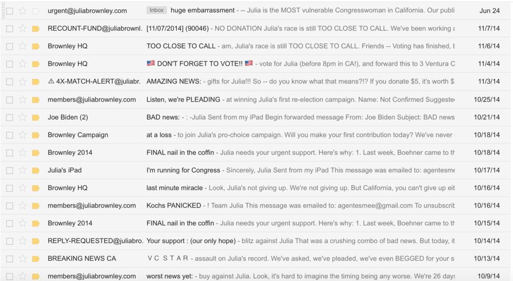 Lila's inbox circa 2014