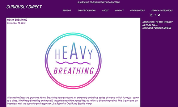 Heavy Breathing featured on Curiously Direct - Part 1.  Sept 16, 2015