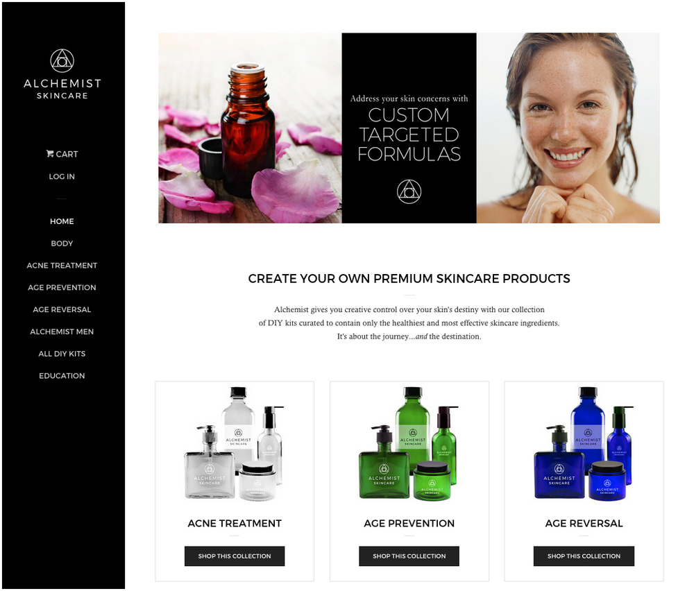Alchemist Skincare website
